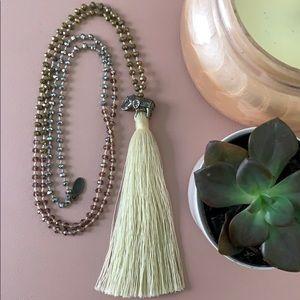 Anthropologie Elephant Tassel Necklace